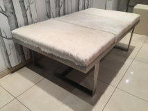 cowhide and stainless steel coffee table