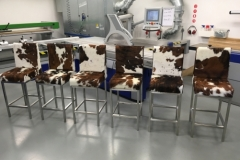 tri-colour cowhide bar stools with backs