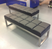 leather and steel bench