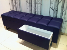 purple leather storage bench