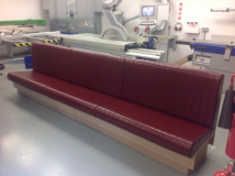 red leather bench seating