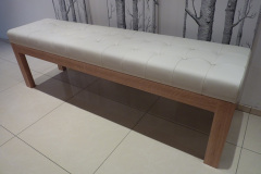 leather and oak bench