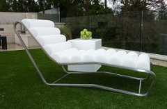 white outdoor leather lounger