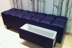 purple leather storage bench