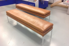leather and steel dining bench