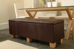 hinged leather bench with storage