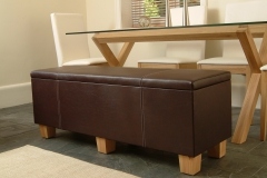 leather storage bench with hinged lid