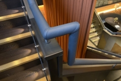 Gaucho Restaurant grey leather handrail