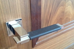 brown leather door handles