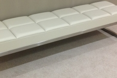 bespoke leather & steel bench