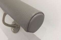 Grey leather handrail