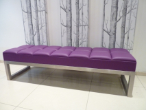 Statement 'purple' leather bench with padded square top design.