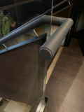 Leather applied to existing handrails at The Gaucho Restaurant, London.