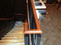 Tan leather handrail