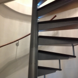 Leather handrail in riverside London apartment.