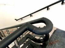 Black leather handrail