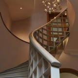 Bespoke leather handrail made and fitted for luxurious London home.