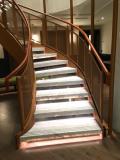 Tan leather handrail in London Hotel.