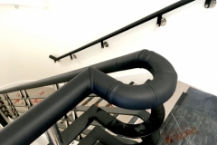 Black leather handrail