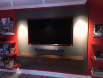 leather wall panels around TV