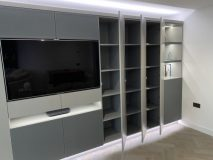 Wall to wall storage in leather