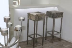 Custom-made furniture - cowhide bar stools