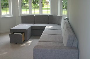 Custom made corner sofa with storage
