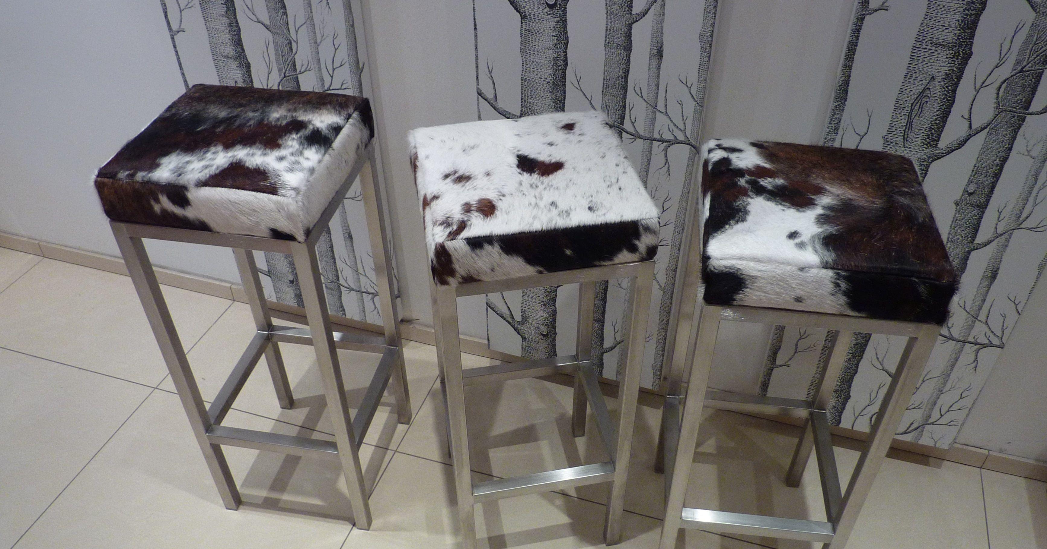 cowhide and steel stools