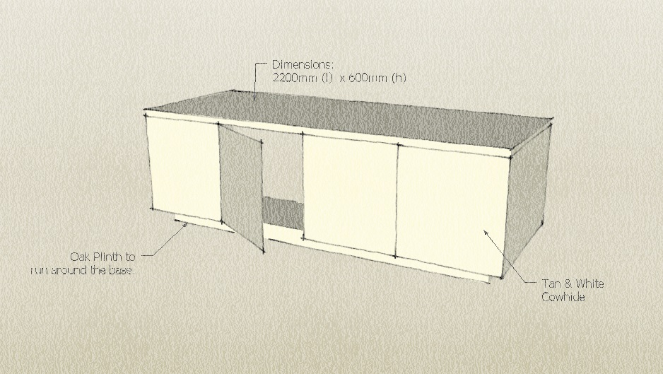 sketch of cowhide cabinet