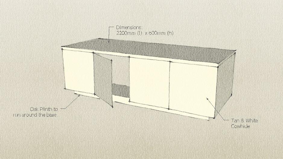 sketch of cowhide cabinet