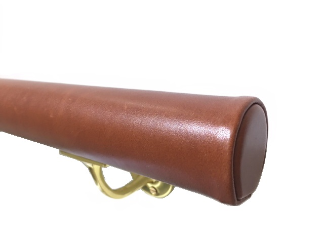 tan leather handrail
