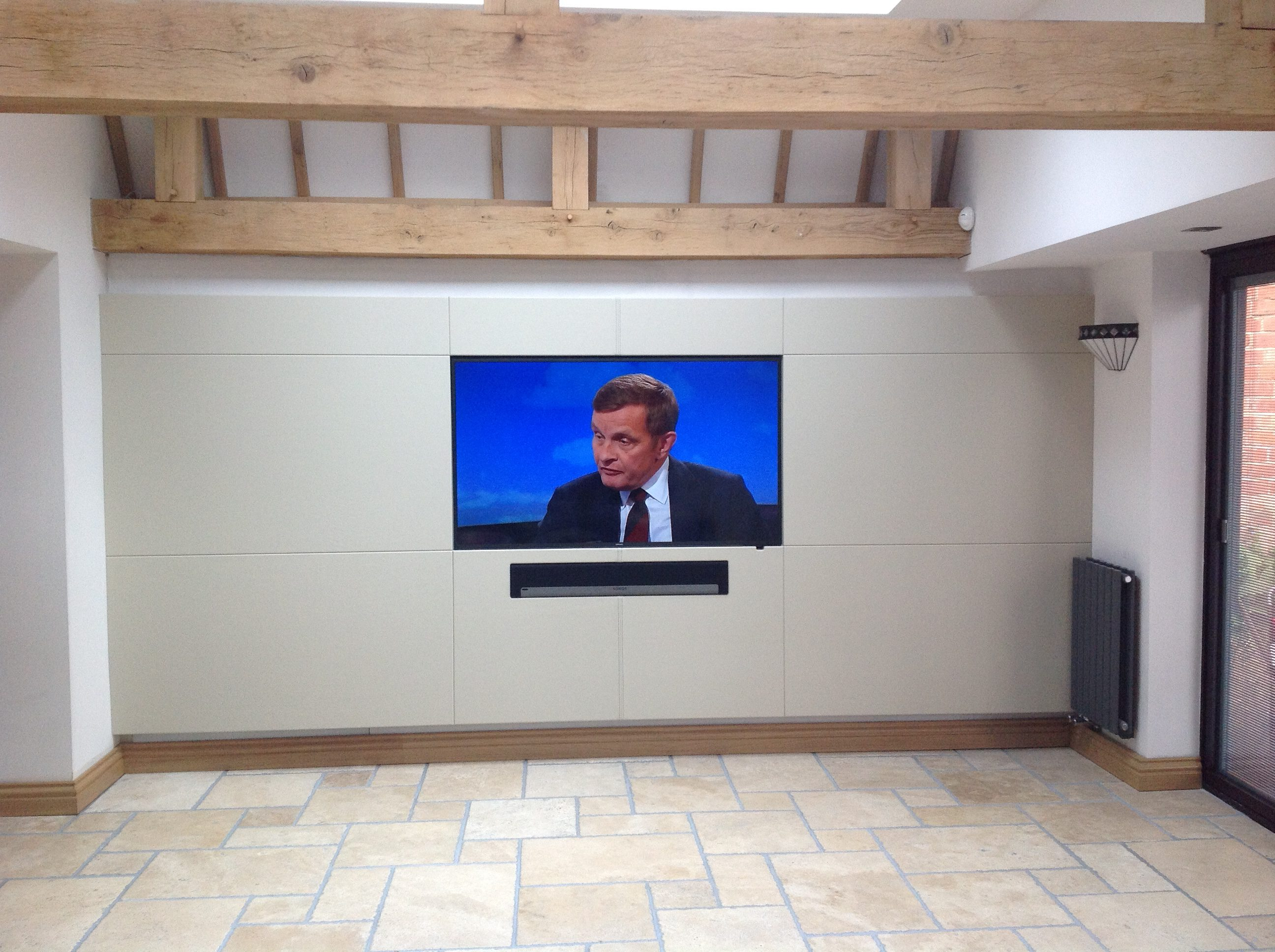 Leather panelled TV wall