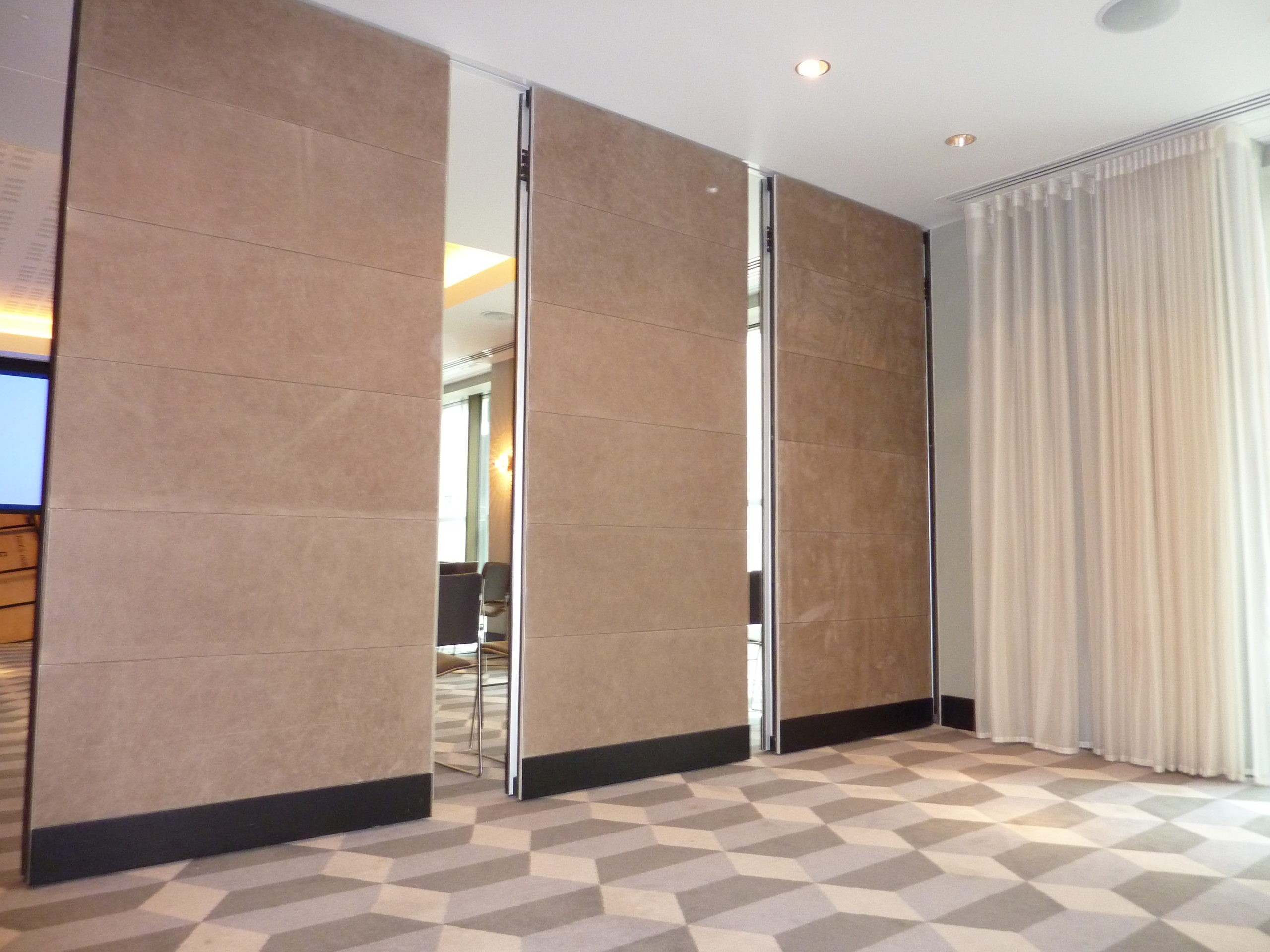 sliding leather covered partitions